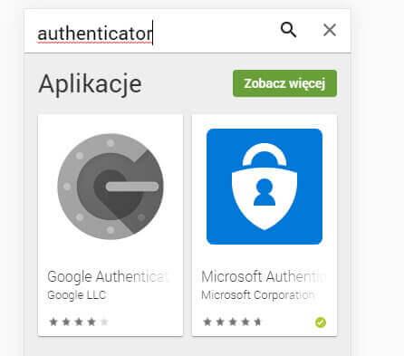 Google Play - wyszukiwanie aplikacji authenticator