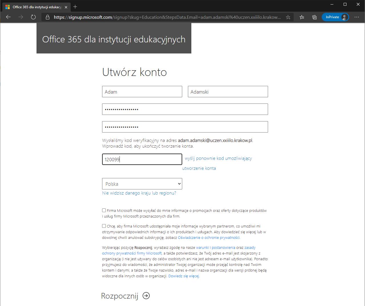 Strona Utwórz konto