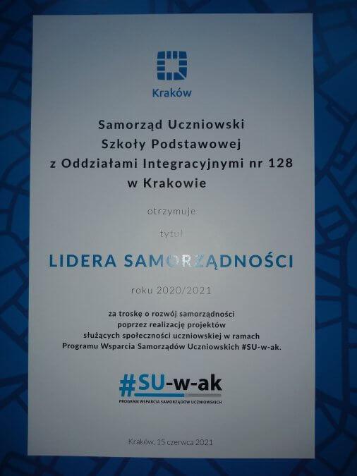 """Samorząd Uczniowski SP 128 nagrodzony tytułem """"Lider Samorządności"""""""